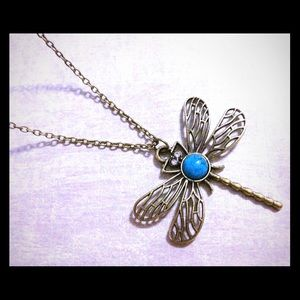 Jewelry - Antique Bronze Turquoise Dragonfly Necklace New